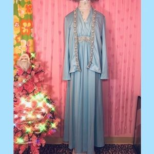 Vintage 60s light blue beaded formal dress